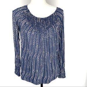 Lucky Brand blue/white knit herringbone print top